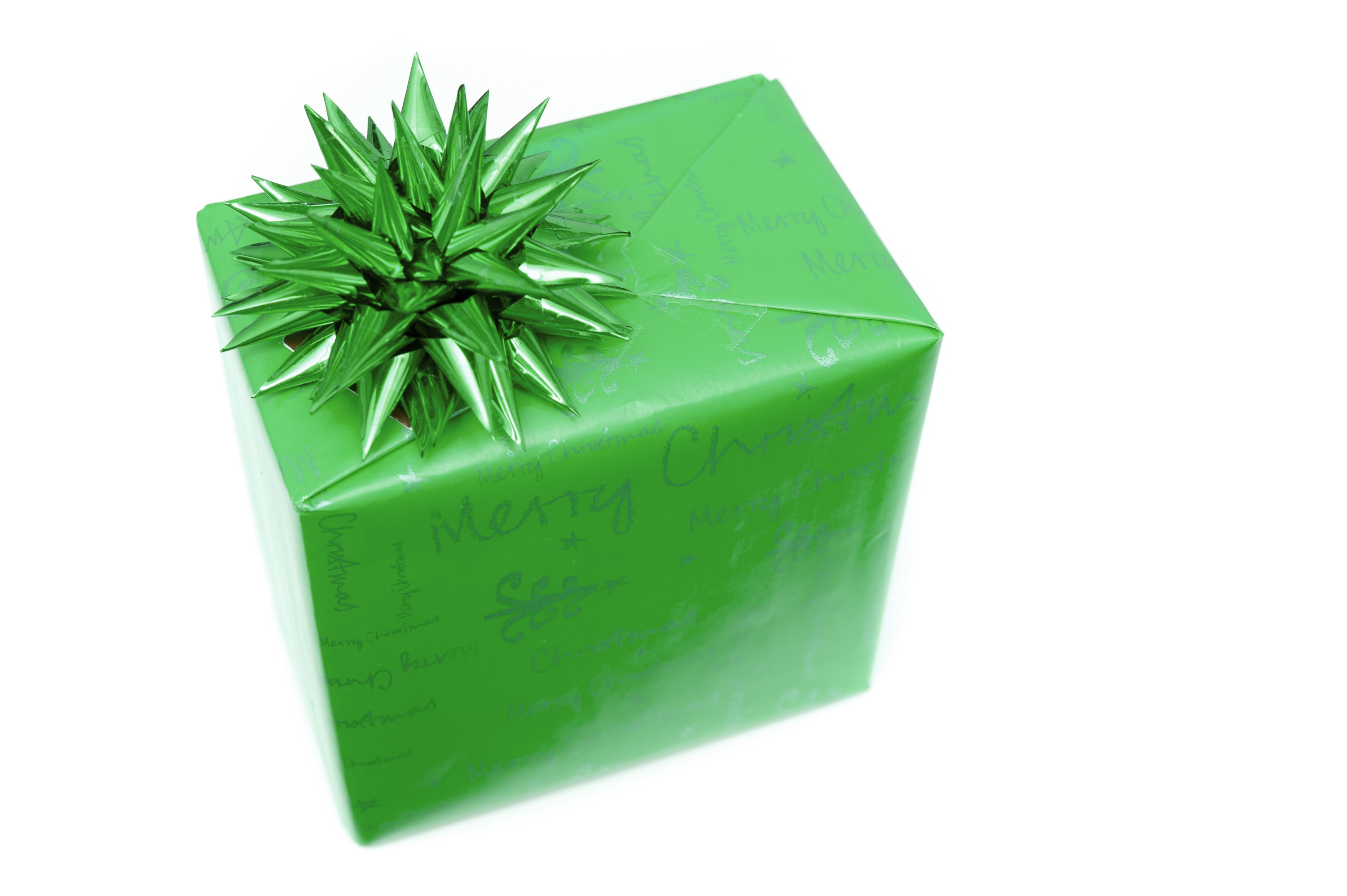 Photo of Single green gift wrapped box with bow  Free