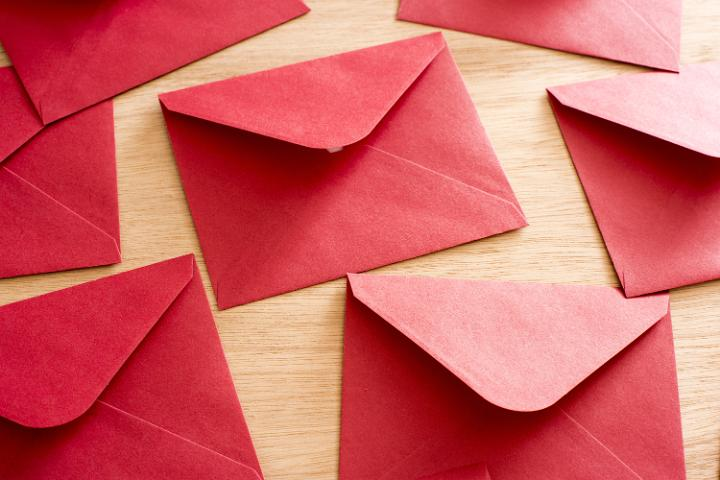 Photo Of Scattered Festive Red Christmas Envelopes Free