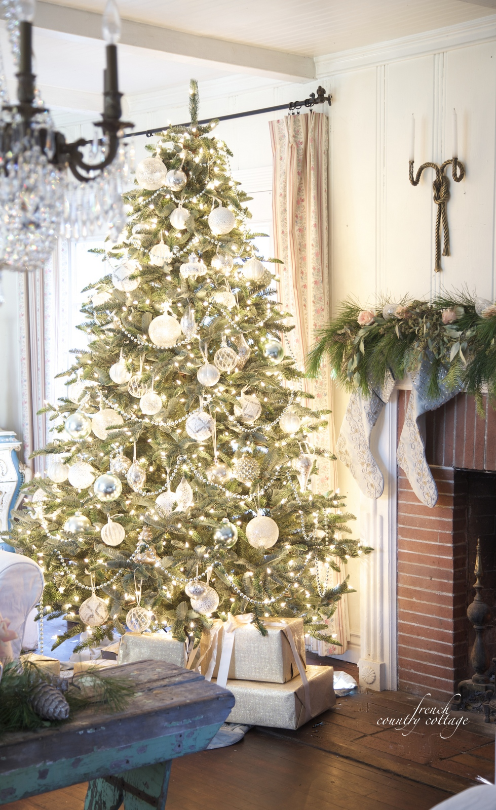 White and French Blue Wintry Elegance  Christmas Tree Decorating Ideas