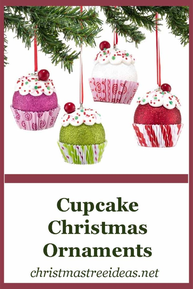 Cupcake Christmas Tree Ornaments - they look like a very festive treat!