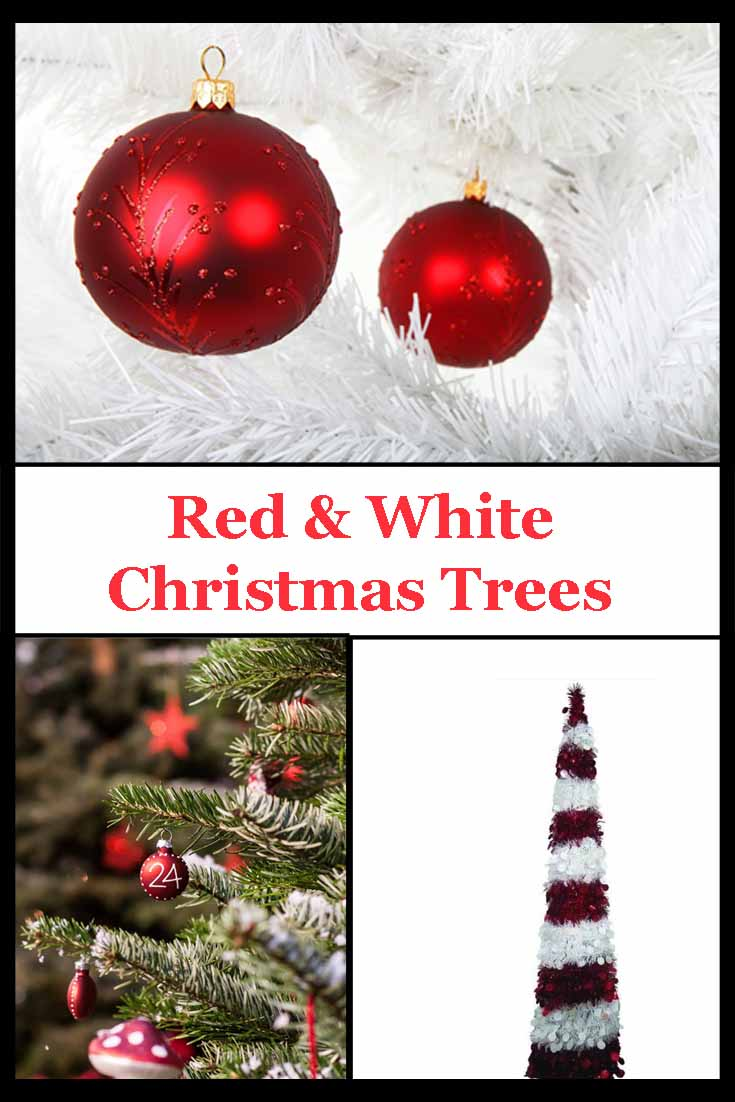Red white christmas trees tree ideas