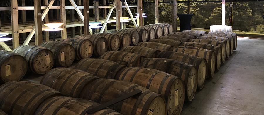 Barrels in rack house