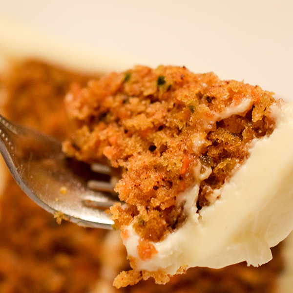 carrot cake piece on fork