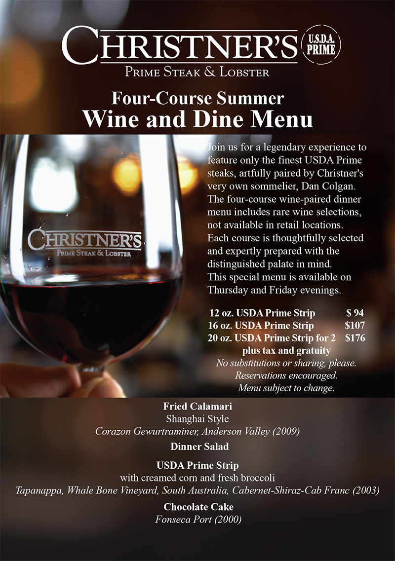 Summer Wine and Dine Four-Course - August Menu