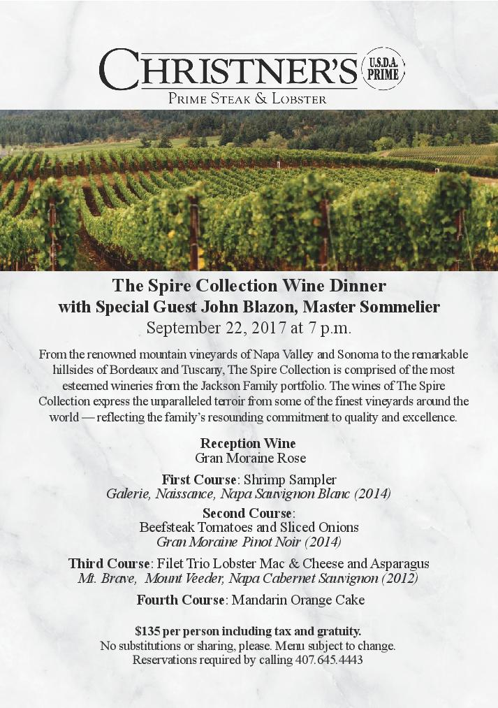 The Spire Collection Wine Dinner with John Blazon, Master Sommelier