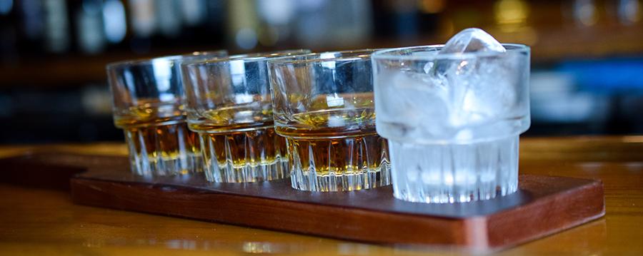 Whiskey flight on counter at Christner's
