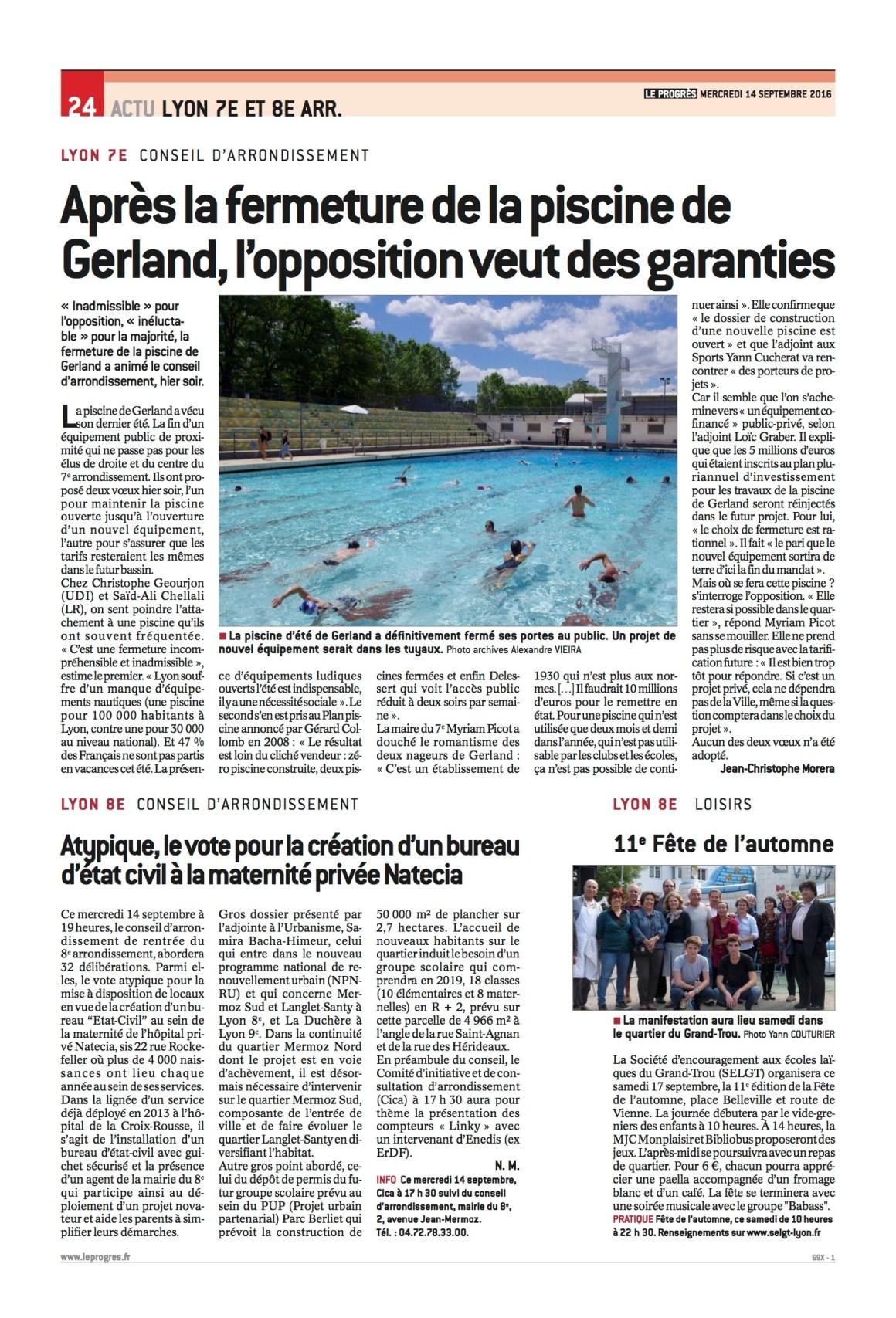 [Presse] Après la fermeture de la piscine de Gerland, l'opposition veut des garanties