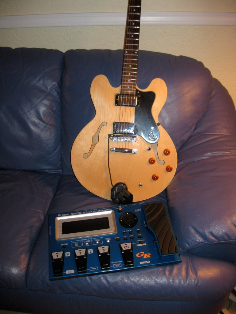 Epiphone Dot guitar with Roland GK-3 pickup and GR-55 guitar synthesizer