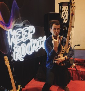 Rockin' out at the BeatBuddy booth