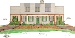 Proposed Front Elevation: brick paver parking pad, louvered shutters, large dormer windows