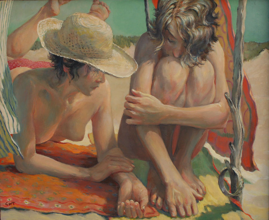 Romantic nude oil painting of two young women in conversation