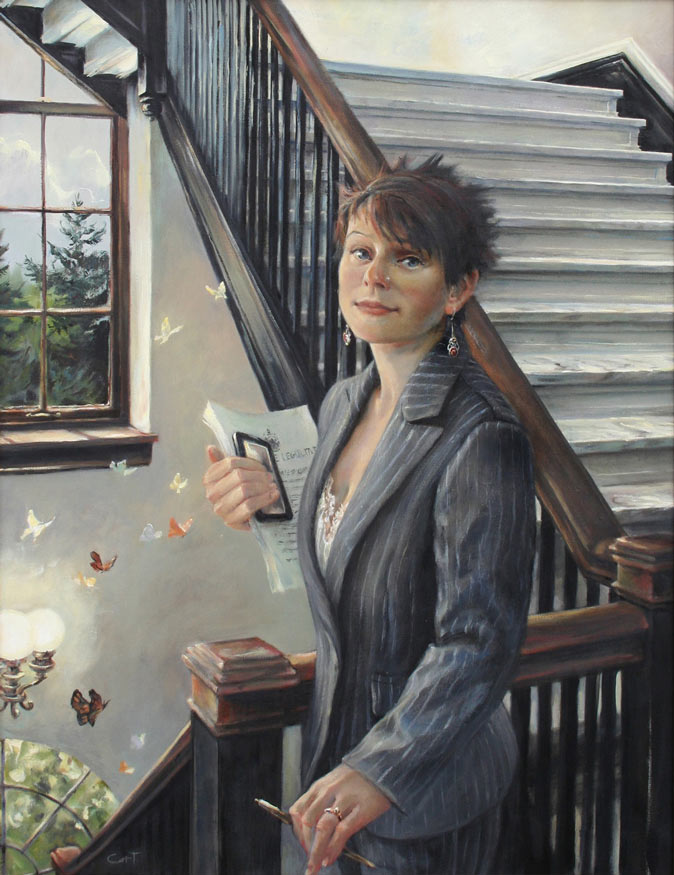 portrait of a young activist on the stairs in the Maine State House