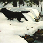 """detail of """"Sunday Walk"""" a watercolor of a black dog in snow in Maine woods by Christopher Cart"""