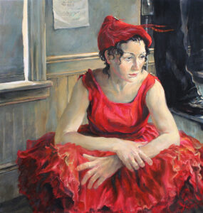 Christopher Cart oil painting of the actress Rebecca Singer waiting to go on in Act II of Bells Are Ringing.