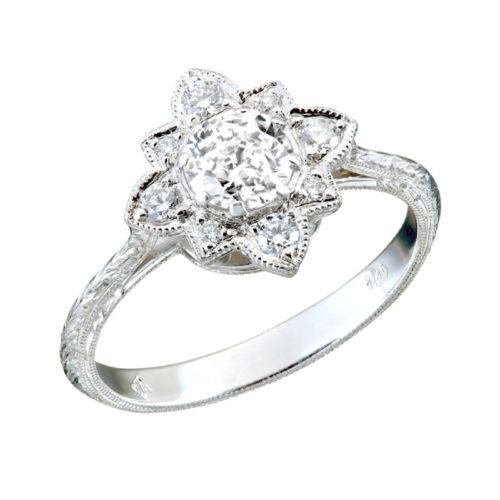 Bold Flower Set Diamond Vingage Style Engagement Ring