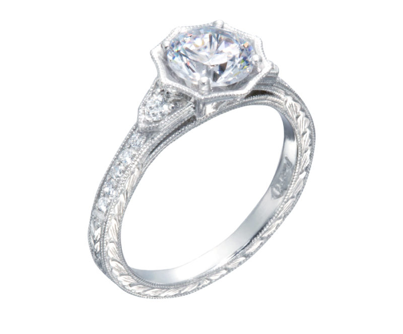 Vintage Diamond Engagement Ring with Octagonal Frame with