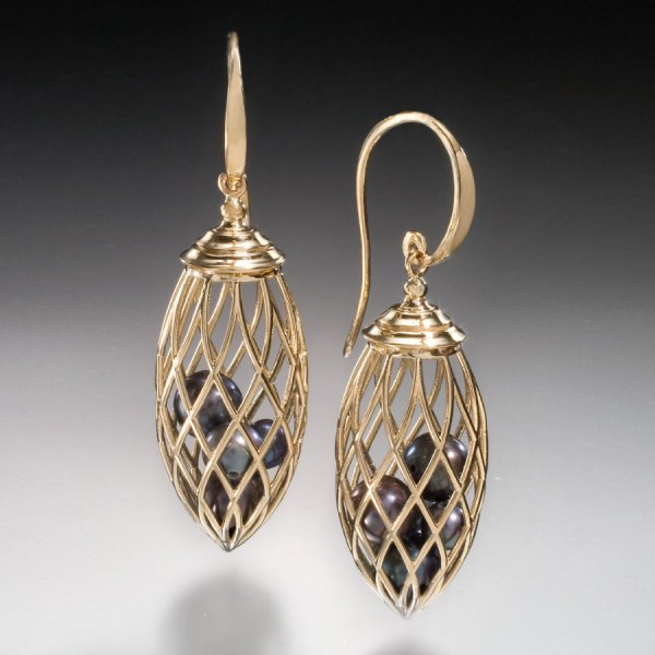 Black Pearl Cage Drop Earrings - Christopher Duquet Fine