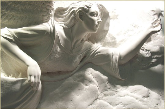 """'Allegory of Night"""" Carved Hydrocal, 30""""H x 51"""" W x 11"""" D"""