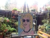 "2016 Marilyn thinking XO, wearing sunglasses, acrylic on cardboard 18""x13"""