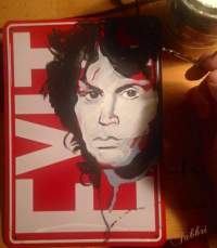 "2017 Jim Morrison, acrylic on metal 10""x7"""