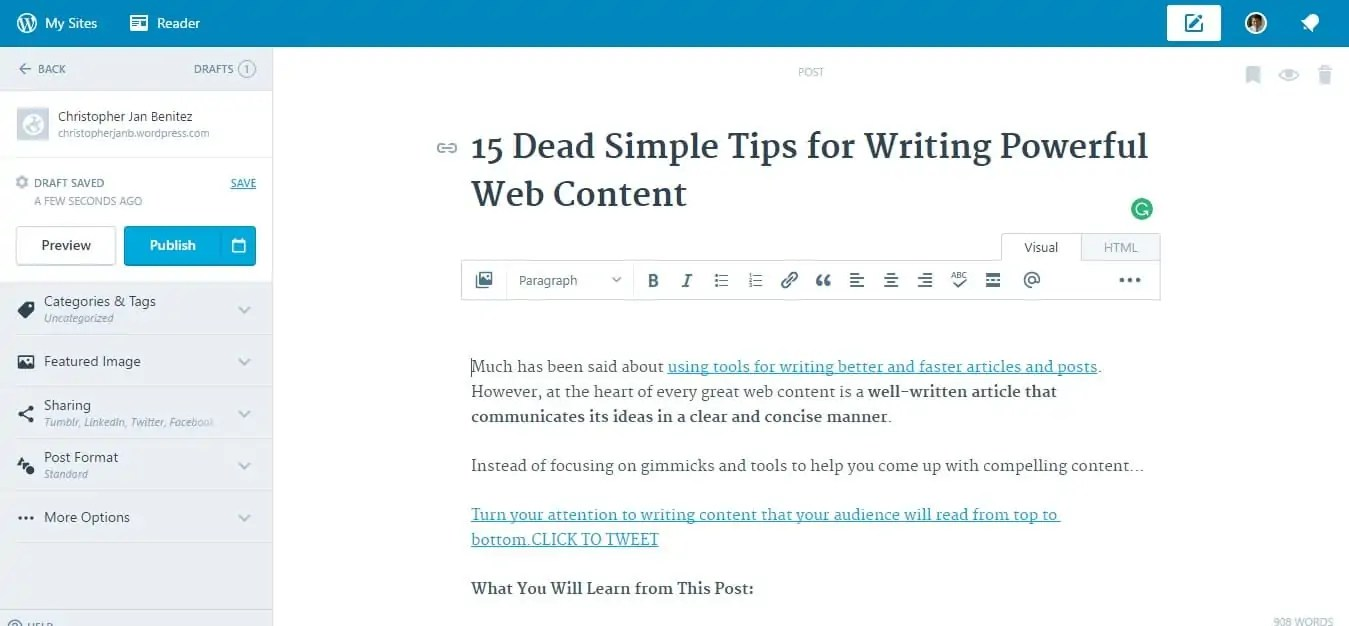 Wordpress dot com text editor