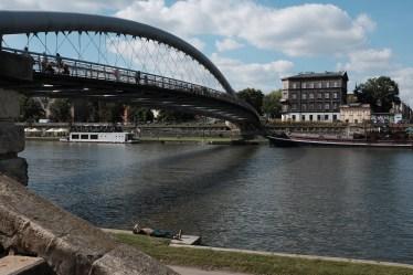 Kladka bridge with man resting below