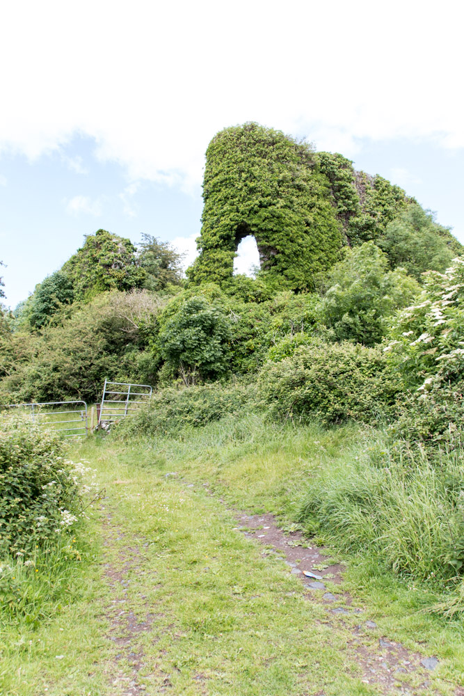 The end of the unpaved road leading to the ruins of Carrigogunnell Castle, near Limerick, Ireland
