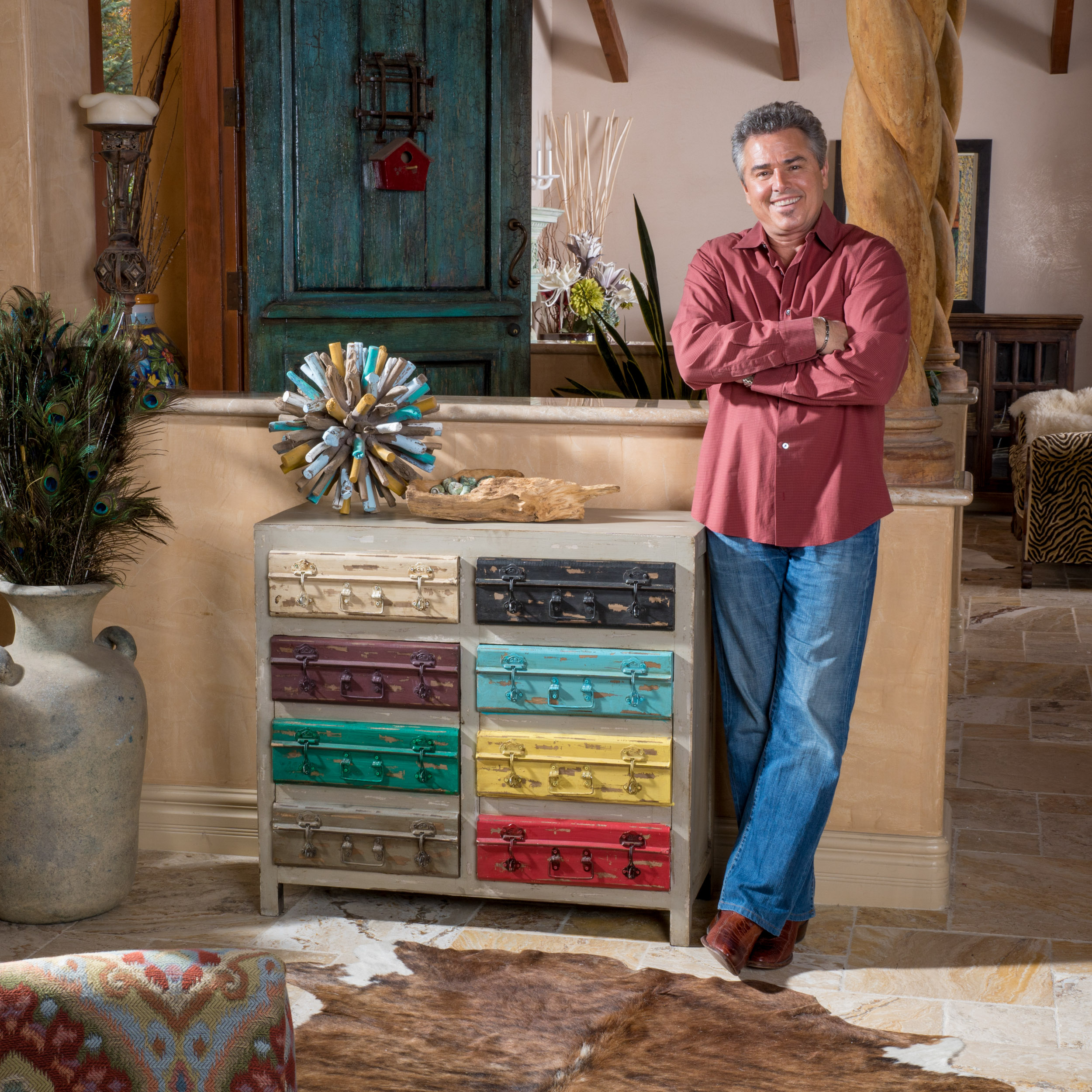 Christopher Knight Home Moga Distressed Grey Multi