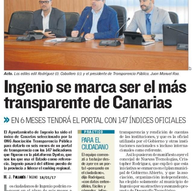 Ingenio se marca ser el más transparente de Canarias