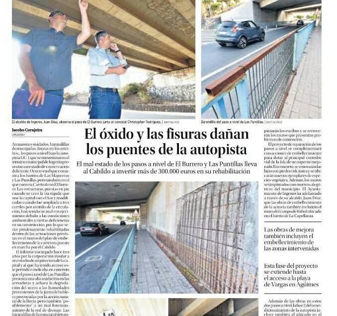 Los puentes de la Villa de Ingenio serán renovados en su totalidad.