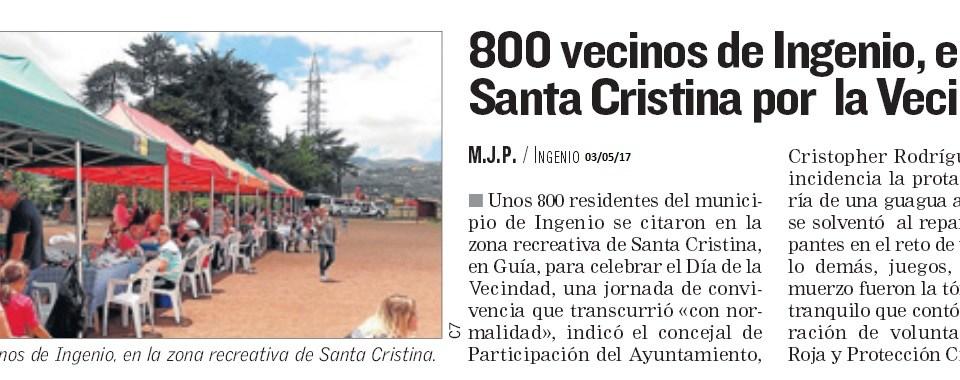 800 vecinos de Ingenio en la Día de la Vecindad.
