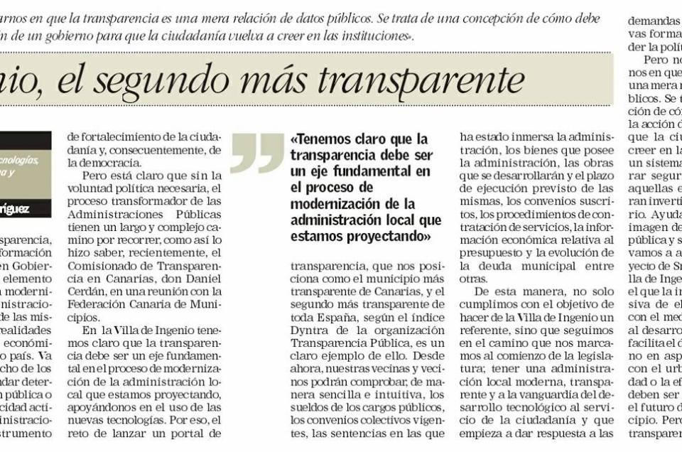 Ingenio, el segundo municipio más transparente.