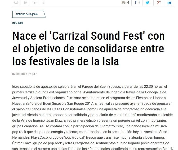 Nace el «Carrizal Sound Fest» con el objetivo de consolidarse entre los festivales de la isla.