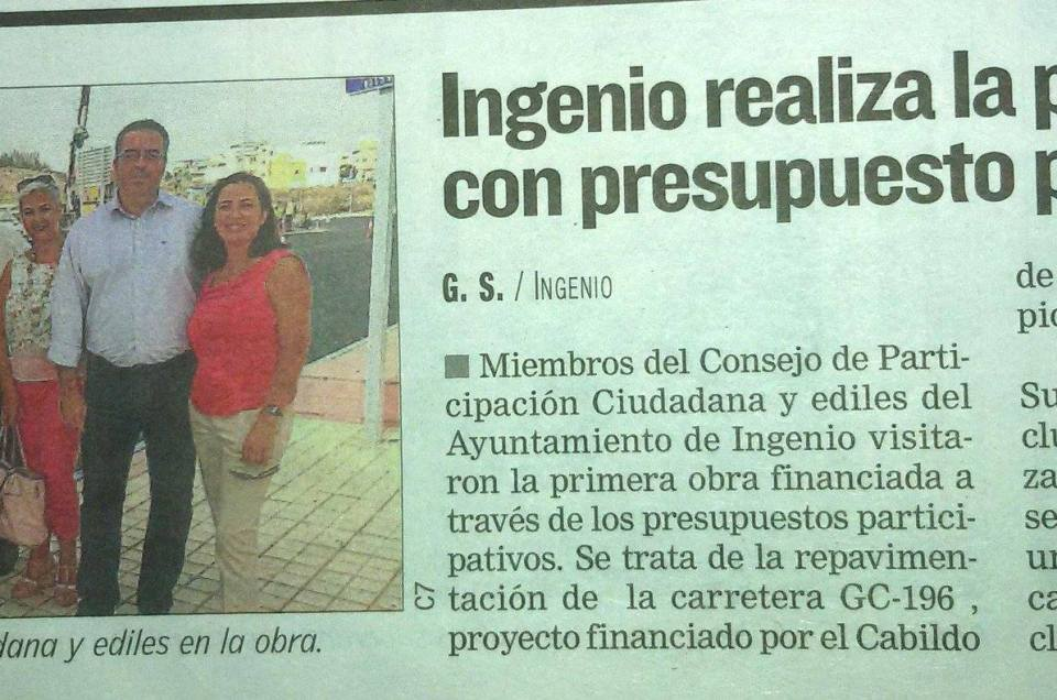 Ingenio realiza la primera obra con presupuesto participativo.