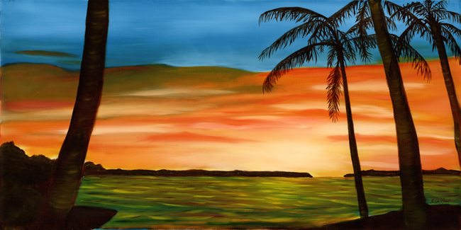 sunset, sunrise, palm tree, tropical, Florida Keys, ocean, painting, art
