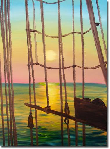 ocean, seascape, sunrise, sunset, sailboat, sailing, rigging, rope, offshore, painting, art