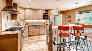 Rustic modern kitchen cabinets with barn wood.