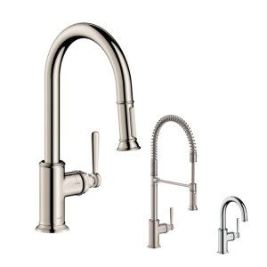 Hansgrohe AXOR Montreux Kitchen Faucets in custom finishes.