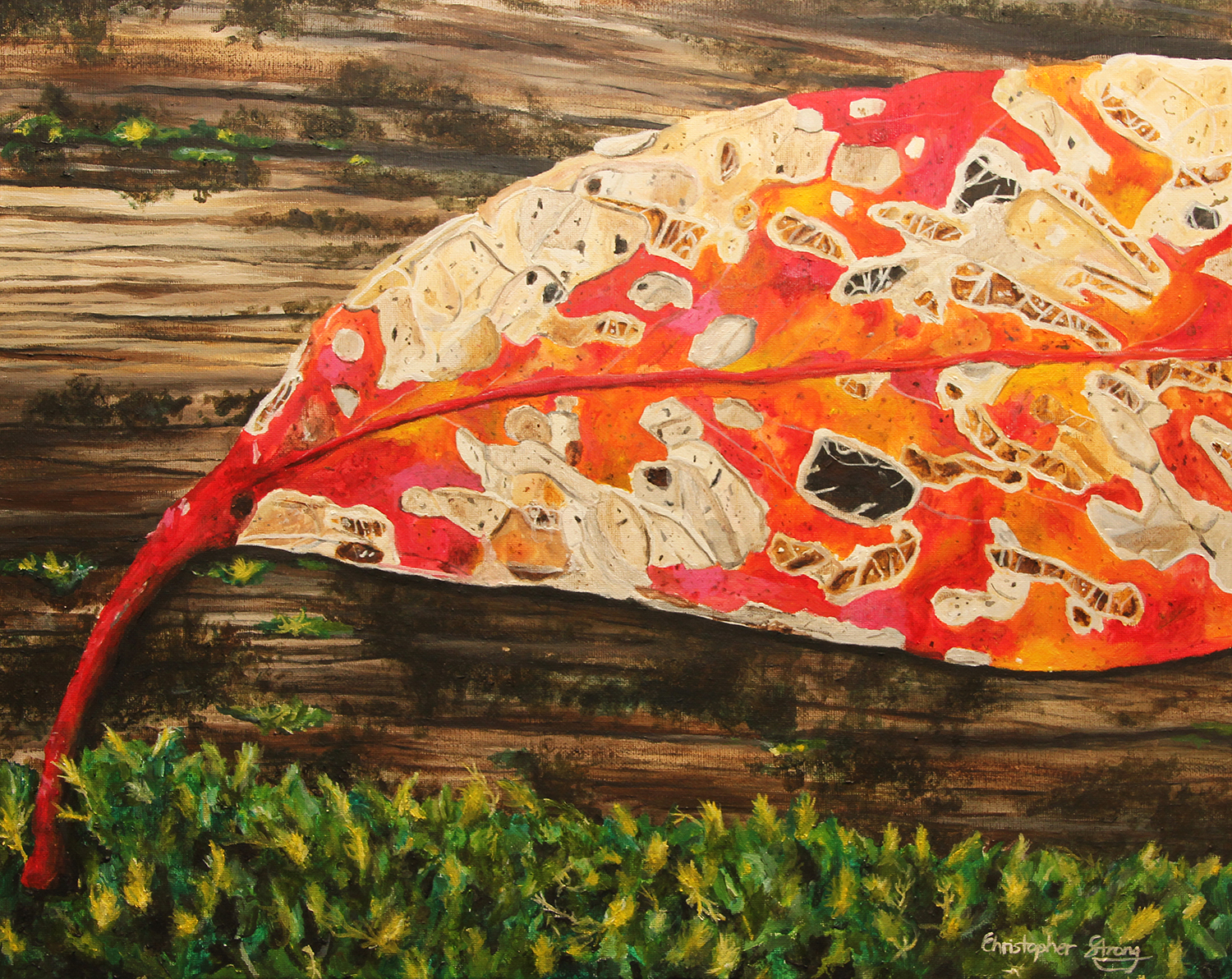 Red leaf rejoining the forest - Oil on canvas - 50cm x 40cm