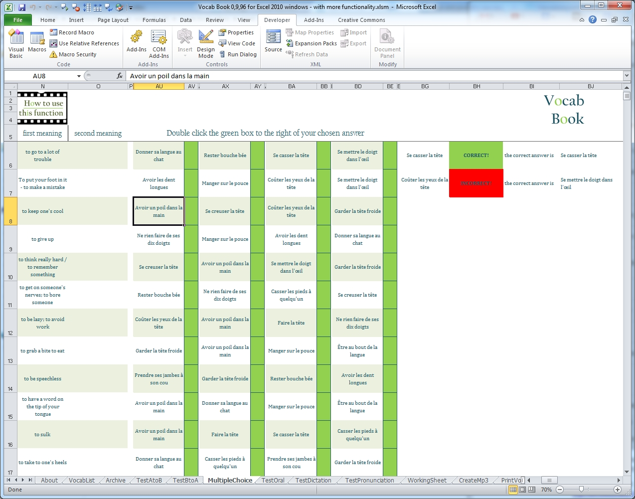 Powerful And Fully Featured Excel Based Vocabulary Learning Tool