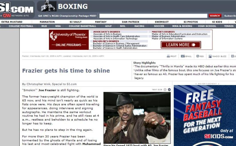SI.com: Smokin' Joe Frazier's feud with Muhammad Ali cools