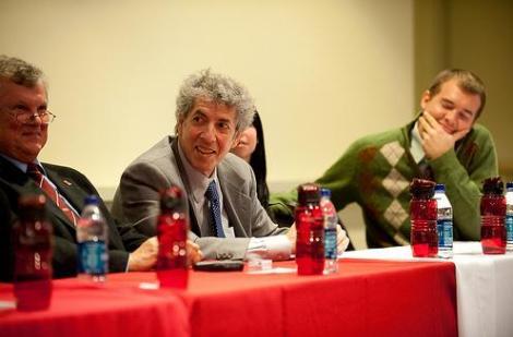 Mike Sisak, Phil Jasner, Shannon McDonald and I on the alumni panel.