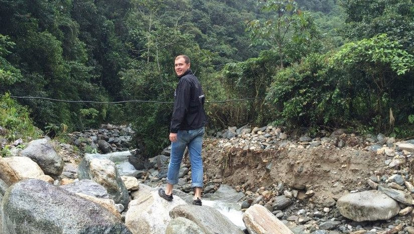 This is me riverwalking on the edge of the Amazon in Banos, Ecuador.