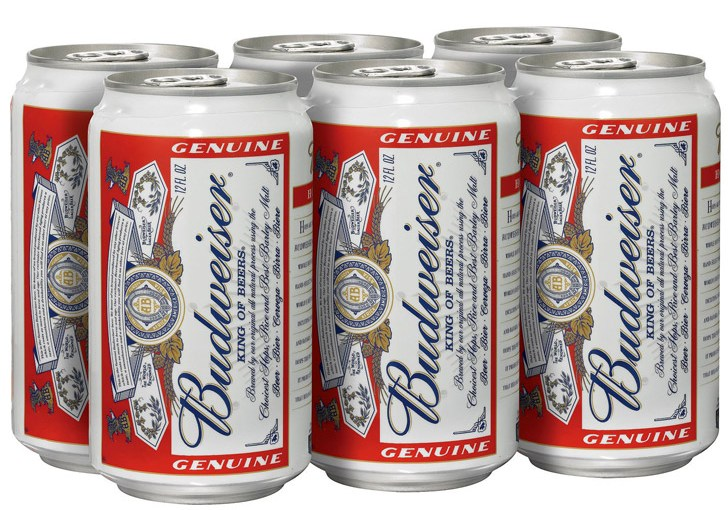 Classic red and white Budweiser cans