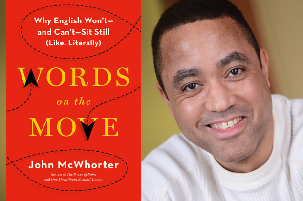 John McWhorter headshot alongside the cover of his book