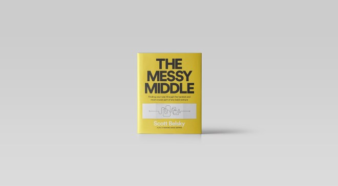 Yellow cover 'The Messy Middle' book framed from a distance in an all-white background