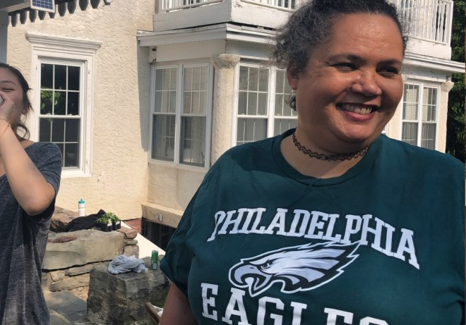 Holly in a Philadelphia Eagles t-shirt before we compete in retreat games!