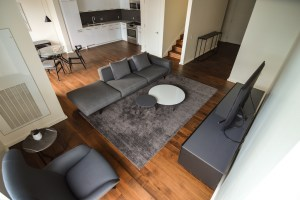AKA Residences Bi-Level Furnished Living Room