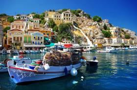 Greek fishing boat in island