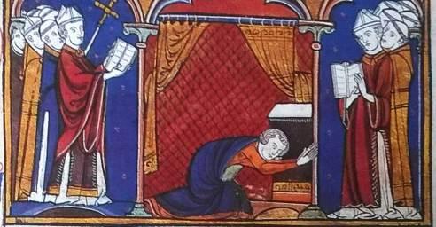 Le roi prosterné pendant les Litanies